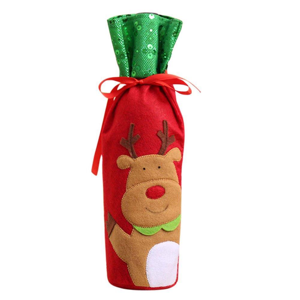 Wildlead 1pcs de Noël Bouteille de Vin Sac Housse Etui Coque Home Décoration de Noël Ensembles de Bouteilles Décoration de Noël Ornement, Santa Claus