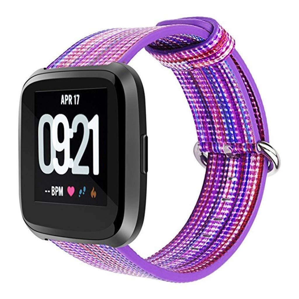 Artistic9-2 Bandas de Nailon para Fitbit Versa Lite Correa de Moda para Mujer Correa de Tela Trenzada para Fitbit Versa Lite Banda de Repuesto Casual