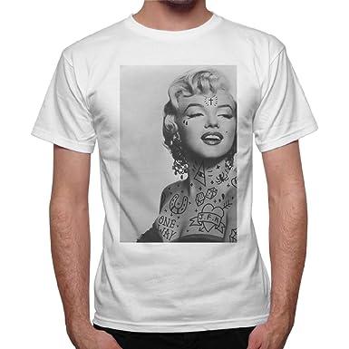 T-Shirt Hombre Marilyn Monroe Tatuajes Old Style-Tattoo Blanco ...