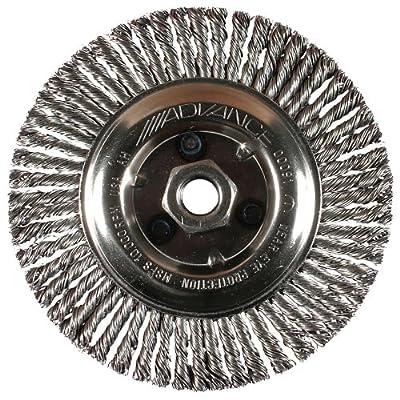 "PFERD 82488 Power Knot Wheel Brush with Stringer Bead Twist, Threaded Hole, Carbon Steel Bristles, 6"" Diameter, 0.020"" Wire Size, 5/8""-11 Thread, 12500 Maximum RPM, 56 Knots"