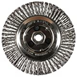 PFERD 82190P Power Knot Wheel Brush with Stringer Bead Twist, Threaded Hole, Carbon Steel Bristles, 4'' Diameter, 0.020'' Wire Size, M10 x 1.25 Thread, 20000 Maximum RPM, 32 Knots (Retail Pack of 5)
