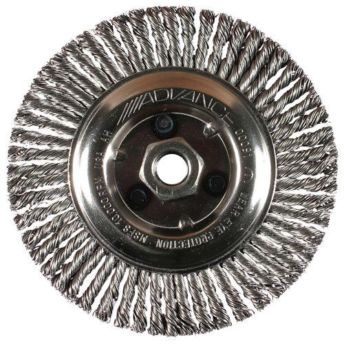 PFERD 82494 Power Knot Wheel Brush with Stringer Bead Twist, Threaded Hole, Carbon Steel Bristles, 6-7/8