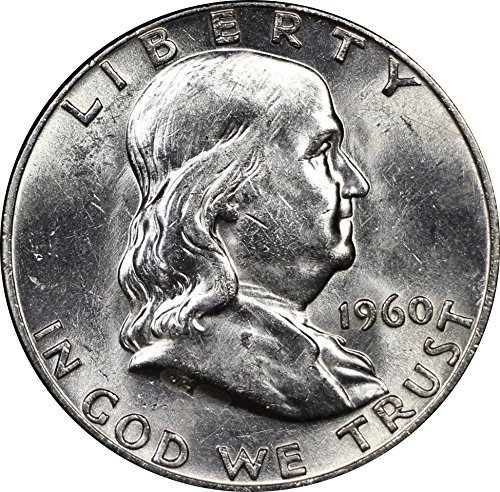 1960 U.S. Benjamin Franklin Silver Half Dollar Coin, Mint State Condition ()