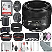 Nikon AF-S NIKKOR 50mm f/1.8G Lens W/ Platinum Accessory Bundle, 58mm Wide-angle & Telephoto Lens + variety of Filters, 16 GB SD Card + Xpix Professional Cleaning Kit