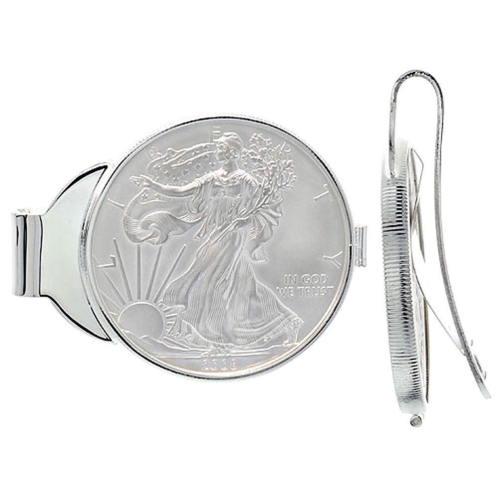 Sterling Silver American Eagle Money Clip Spring Back 1 oz. Silver Dollar Coin Included