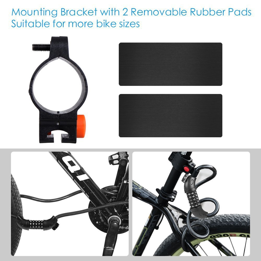 Puroma 5-Digit Combination Bike Cable Lock Mounting Bracket, Resettable Self Coiling Cycling Security Bicycle Locks, 5 Feet x 1/2 inch by Puroma (Image #5)
