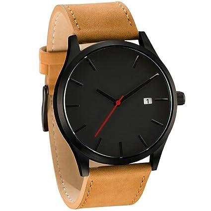 Reloj con correa de cuero, estilo minimalista, reloj de pulsera de cuarzo, relojes para hombre 2018 ...