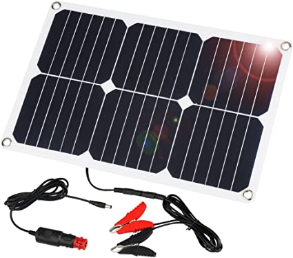 SUAOKI 18V 12V 18W Solar Car Battery Charger Portable Solar Panel Trickle Charger with Cigarette Lighter Plug, Battery Charging Clip Line for ...