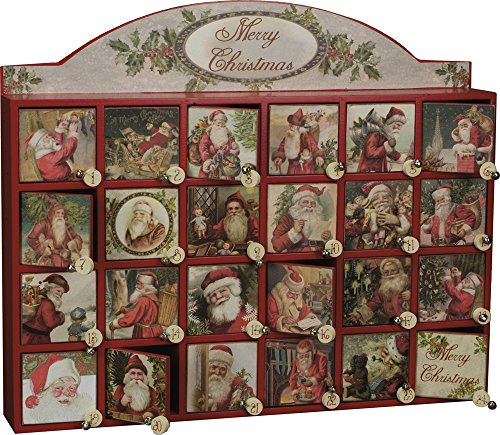 Vintage Santa Wooden Advent Calendar with Doors from Primitives by Kathy