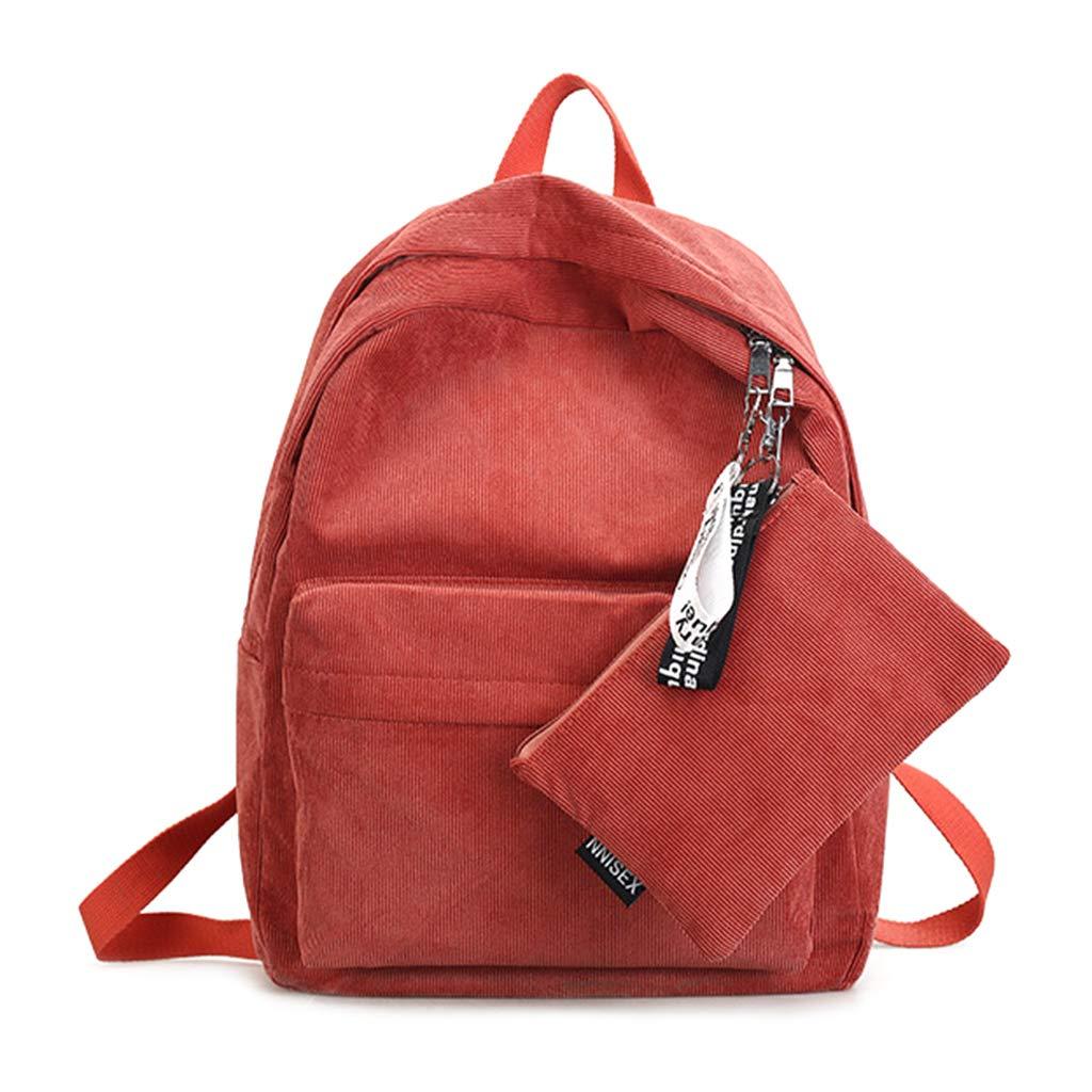 Tebatu Travel Backpack, Casual Corduroy Shoulder Bag Teenagers Rucksack New Orange