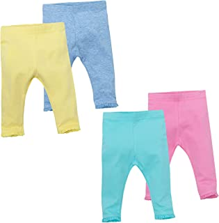 BABY TOWN Baby Girls Leggings with Lace Trim Available in Four Bright Colours