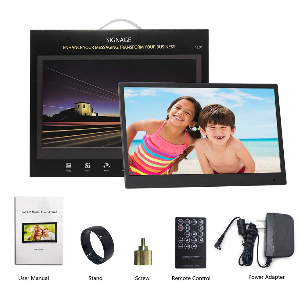 Digital Picture Frame,13.3 inch 1920X1080P with HDMI High Resolution Full IPS Photo/Music/Video Player Calendar, Ultra Slim Design with Remote Control by SSA (Image #6)