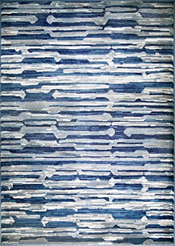 Adgo Hudson Collection Modern Geometric Striped Medallion Brick Triangle Soft Pile Contemporary Carpet Thick Plush Stain Fade Resistant Easy Clean Bedroom Living Dining Room (6'x9',5671AN - Navy Blue) ()