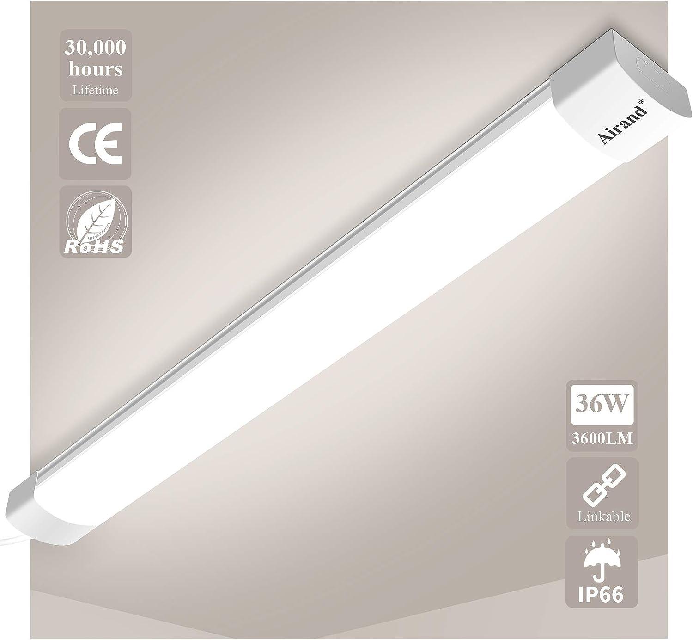 Airand Luz húmeda Led 36W 3600LM 120CM Lámparas de taller enlazables IP66 Tubos LED impermeables Luz de baño Sótano Taller Garaje Oficina Almacén Sala de pasatiempos Cuarto húmedo, Blanco neutro: Amazon.es: Iluminación