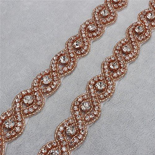 [Wedding Belt Applique Rhinestones Bridal Trim Handmade Hot Fix for DIY Wedding Dresses Belts and Sashes - Rose] (Easy Diy Plus Size Halloween Costumes)
