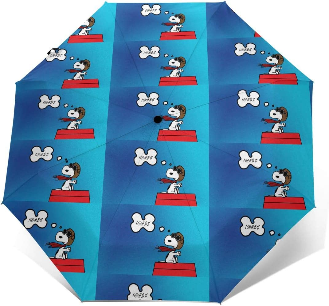 Windproof Travel Umbrella Fine Day Snoopy Compact Folding Umbrella Automatic Open//Close
