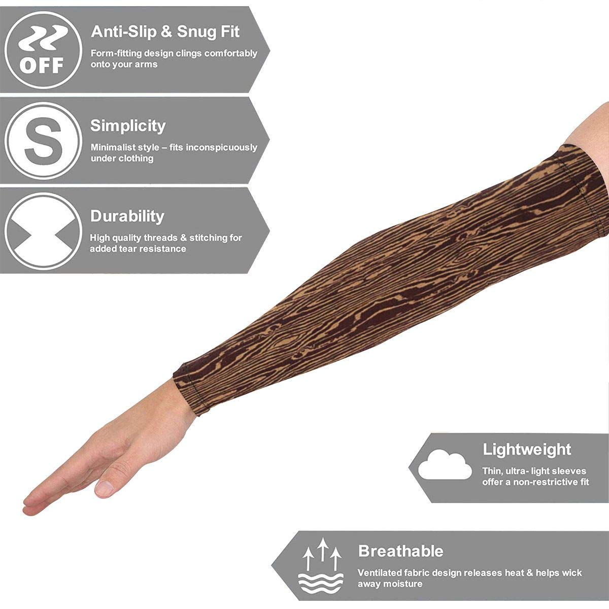 Mingxin~ Wood Grain Fabric Unisex Outdoor Cooling Sports Elastic Breathable Oversleeve Arm Guards Arm Protector Basketball Barcer Sunscreen Sunblock Gloves Accessories