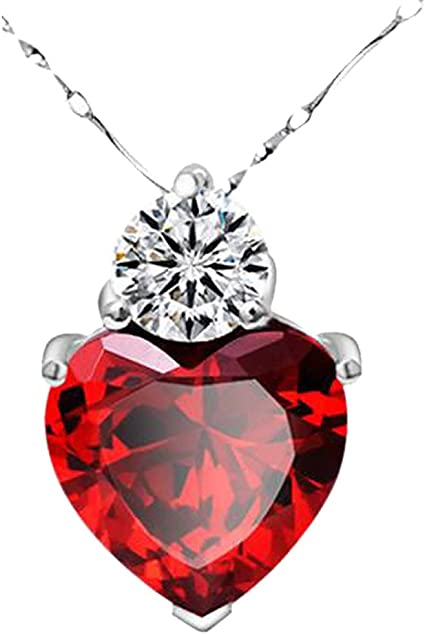Sterling Silver Cubic Zirconia Natural Garnet Heart Shaped Gemstone Pendant Necklace