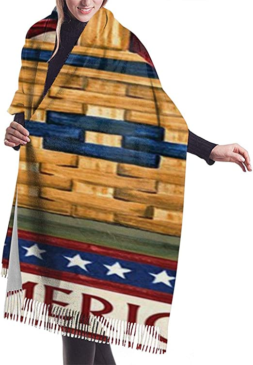 America Flag Warm Soft Cashmere Shawl Wrap Scarves Long Scarves For Women Office Worker Travel