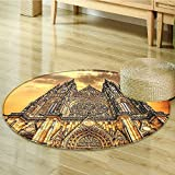 Non Slip Round Rugs Church Catholic Gifts Tower Prague Oriental Floor and Carpets-Round 35''