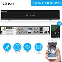 KKmoon 4ch Completo 1080N/720P AHD DVR HVR NVR HDMI P2P Nube Red ONVIF Digital Video Recorder + 1TB HDD Plug-and-Play Android/iOS App Libre cms navegador Vista Motion Detection Email Alarma