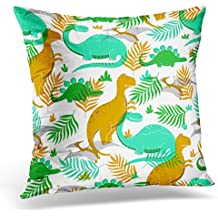 TOMKEYS Throw Pillow Cover Colorful with Funny Dinosaurs in Cartoon Style Perfect Party Kindergarten Preschool and Children Room Decorative Pillow Case Home Decor Square 18x18 Inches Pillowcase