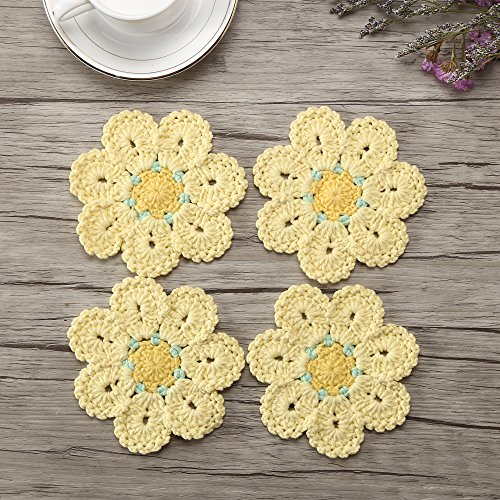 ZORJAR Placemats for Kitchen Coasters Doilies Round Handmade Crochet Flowers Milk Cotton Lace Table Mats 4.72Inch, Set of 4 (Light Yellow)