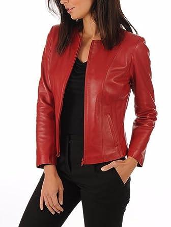 1b91ce205 Excentoutwear Women's Lambskin Leather Bomber Biker Jacket