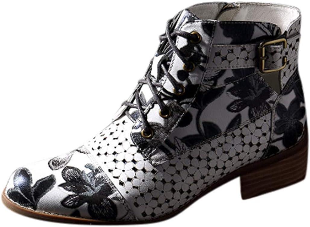 HULKY Botas Retro de Mujer Bohemia Botines de Cuero Impresión Botas de Moto Vintage Zapatos con Cordones Puntiagudos Mujeres 2019 Nuevo