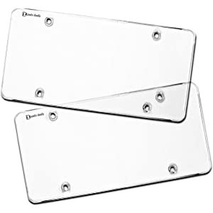 564e5a93fa91 Zento Deals Flat Clear License Plate Cover - 2 Pack of Heavy-Duty All  Weather