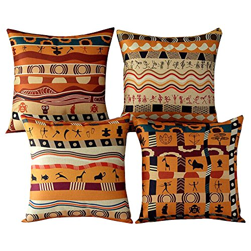 WOMHOPE 4 Pcs Orange African Tribal Totem Throw Pillow Covers Cases Cotton Linen Burlap Square Decorative Cushion Covers Pillowcase Cushion Case for Sofa,Couch 18 x18 Inches (Orange (Set of 4)) -