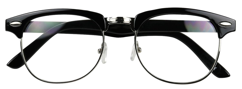 df685526d56 Amazon.com  Basik Eyewear - Classic Half Frame Clear Lens Vintage Clubmaster  Retro Eye Glasses (Black w  Gold Trim