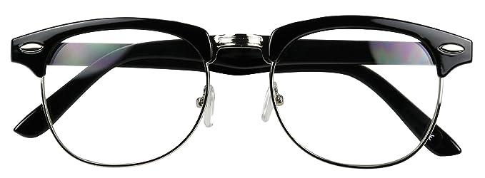 e0c17723adea Amazon.com  Basik Eyewear - Classic Half Frame Clear Lens Vintage  Clubmaster Retro Eye Glasses (Black w  Silver Trim
