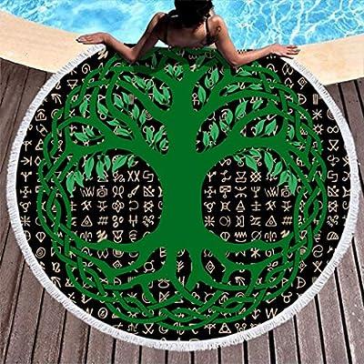 MINNOMO Toalla de Playa Redonda borlas Verdes celtas árbol de la ...