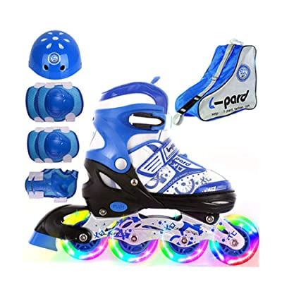ZMCOV Adjustable Inline Skate, Illuminating Roller Skates, Great for Beginners, Comfortable Roller Skates, Inline Skates for Girls and Boys, Blue, 31~34 : Sports & Outdoors