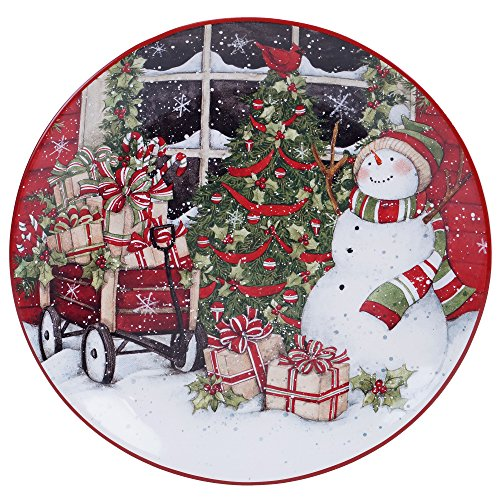 (Certified International Snowman's Sleigh Round Platter, 13