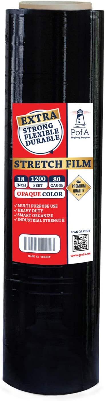 PofA Stretch Film Plastic Wrap Opaque 1 Roll - 18 Inch x 1200 Feet x 80 Gauge (20 Micron), Industrial Heavy Duty Shrink Wrap for Packing, Shipping, Pallet, Cling, Furniture, Moving Supplies