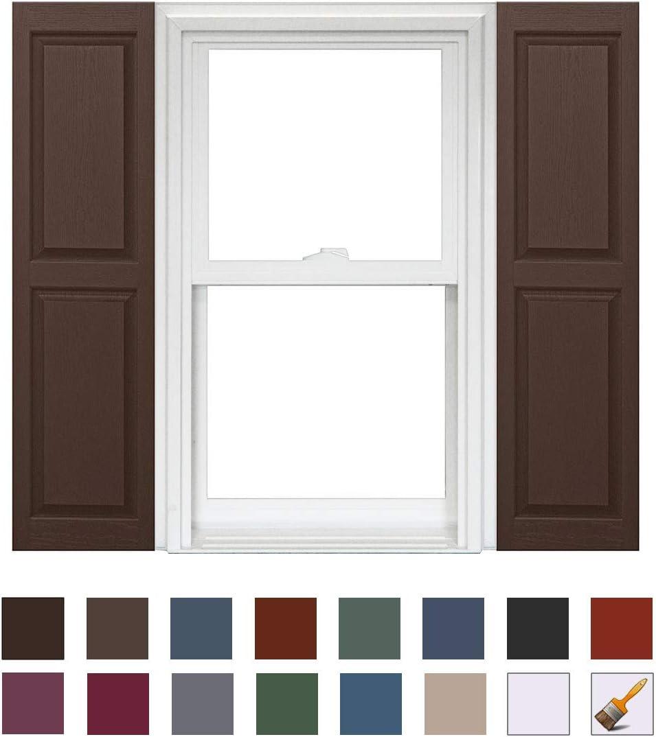 930 White x 59in Homeside Raised Panel Vinyl Shutter 1 Pair 14-1//2in