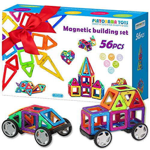 Magnetic Blocks Set for Kids, Toddlers, Boys & Girls - 56 BPA Free Big Colorful Tiles with Strong Magnets - Educational STEM 3D Building Magnet Toy for Creative Learning, Construction, ()