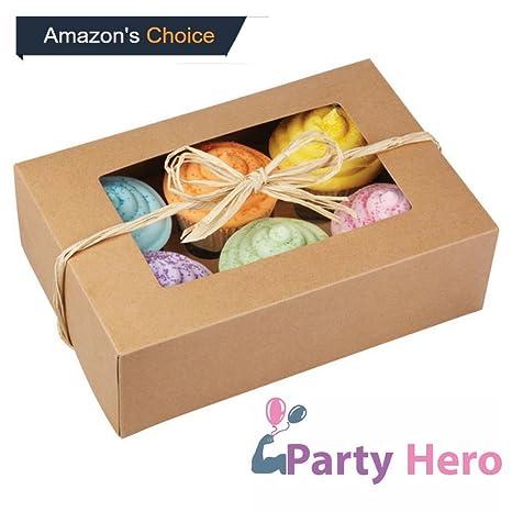 Fiesta Hero cajas para cupcakes Cupcake recipiente, 6 Count cavidad, 25 unidades, pasteles