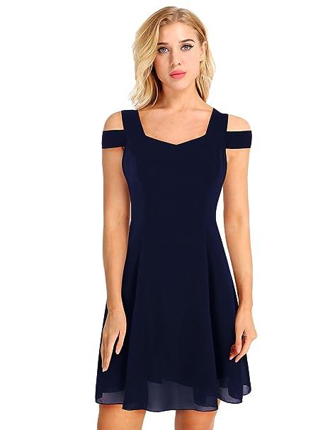 iEFiEL Vestido Corto Sexy Vestido Cóctel A-Line Falda Mini Vestido De Novia para Mujer