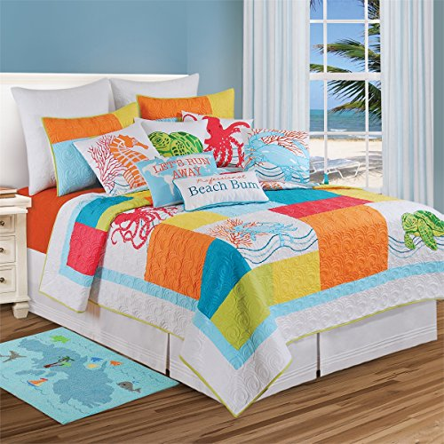 C&F Home 89956.8686 Tropic Escape for Q Quilt, Full/Queen, Blue (Themed Bedspreads Seashore)