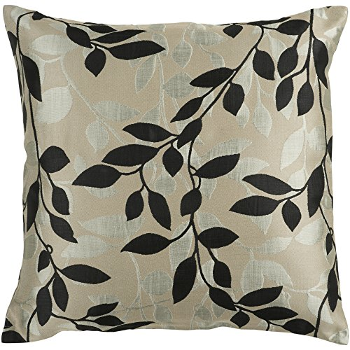 Surya HH-061 Hand Crafted 88 Polyester 12 Polyamide Black 18 x 18 Floral Decorative Pillow