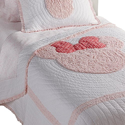- Ethan Allen | Disney  Minnie Mouse Really Ruffle Quilt, Petal (Light Pink), Twin