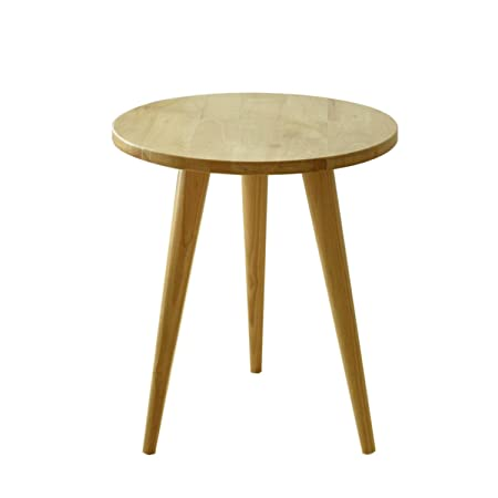 Laputa Solid Oak Wood Round Tea Table, Circular Wood Coffee Table With 3  Detachable Legs