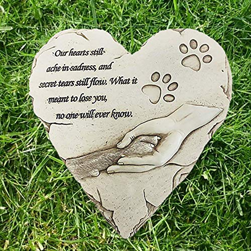 JHP Dog Memorial Stones, Hand-Printed Heart Shaped pet Memorial Gifts Embellished with Sympathy Poem & paw in Hand Design, Meaningful Loss of Pet Gift for Outdoor (White)