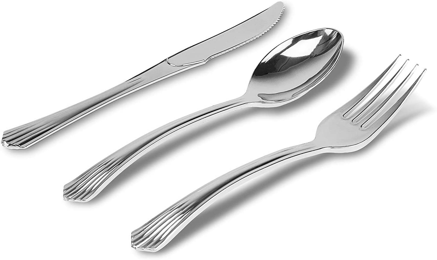 DecorRack Plastic Silverware Set, 288 pieces -BPA FREE- Heavyweight Fancy Silver Finish Disposable Dinnerware, Elegant Silver Plastic Cutlery, Plastic Utensils Set for Wedding, Catering, Party