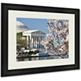 Ashley Framed Prints Spring In Washington Dc Cherry Blossom Festival At Jefferson Memorial Wall Art Decor Giclee Photo Print In Black Wood Frame, Soft White Matte, Ready to hang 16x20 art