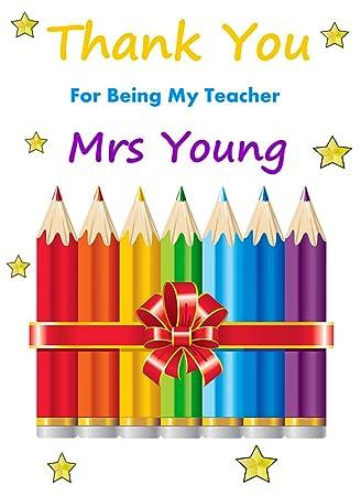 Personalised Blue World/'s Best Teacher Card Thank You Teacher Card