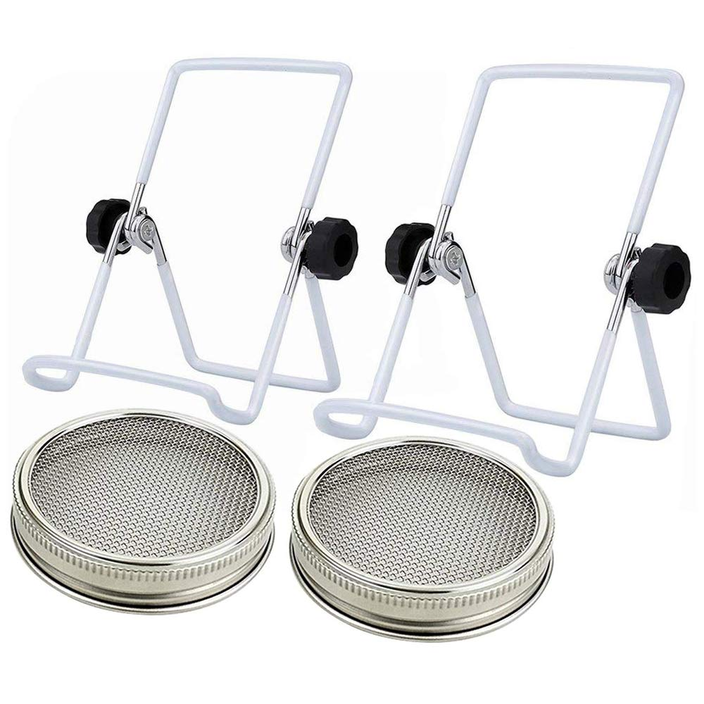 2Pack - Stainless Steel Sprouting Kit for Mason, iPad & Phone. Include Sprouting Stands & Sprouting Lids, Used to Make Sprouts, Broccoli, Lentil Seeds.